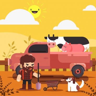 farming background farmer truck cattle icons cartoon design