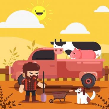 farming background farmer truck cattle icons cartoon design