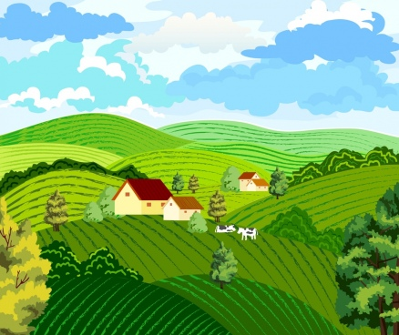 farming background hill landscape design colored cartoon