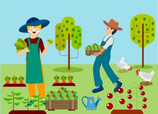 farming background woman man vegetable icons colored drawing
