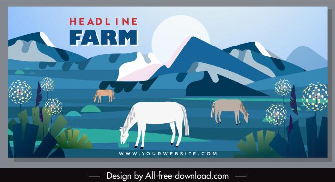 farming banner cattle sketch flat classic design
