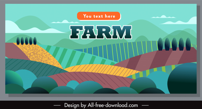 farming banner field sketch colorful flat classic