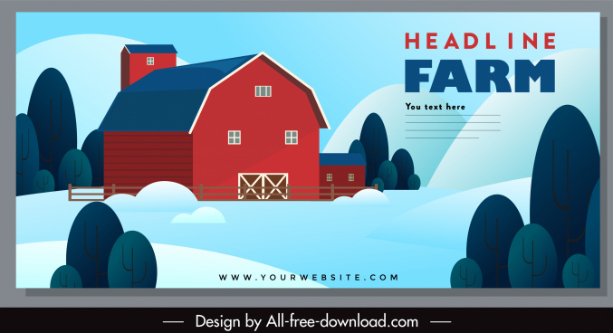 farming banner warehouse sketch colorful classic