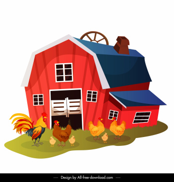 farming chicken coop painting colored cartoon sketch