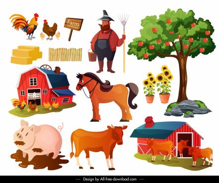 farming design elements cattle poultry farmer sketch