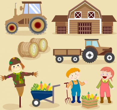 farming design elements colored cartoon design