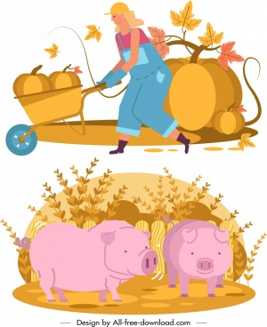 farming design elements farmer pumpkin pigs icons