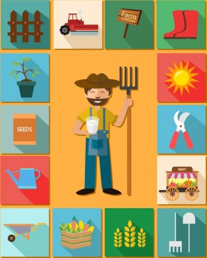 farming design elements farmer tools product icons isolation