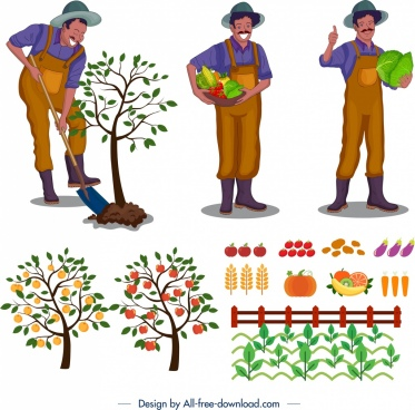 farming design elements farmer tree vegetables icons