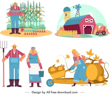 farming design elements farmers works icons