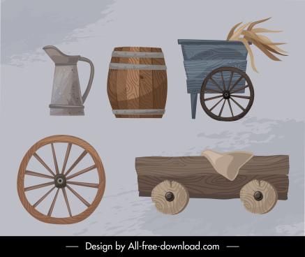 farming design elements retro wooden tools sketch