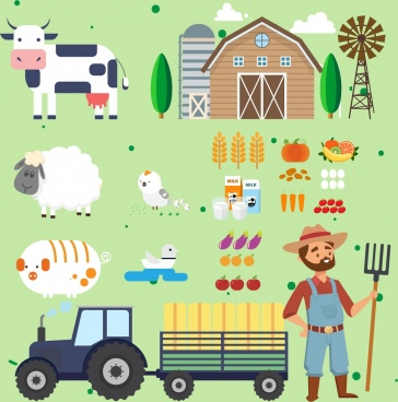 farming design elements various colored symbols