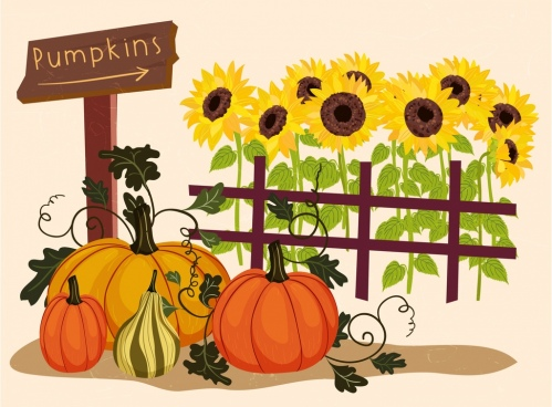 farming drawing sunflowers pumpkin icons multicolored design