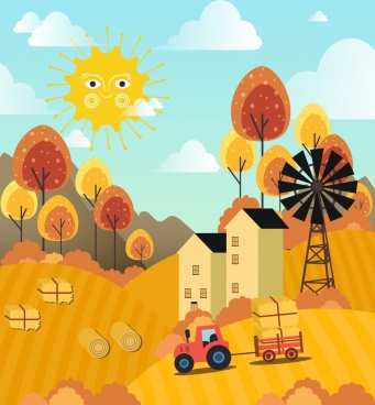 farming drawing yellow decor stylized sun hill icons