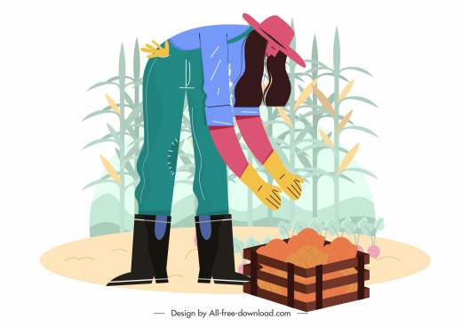 farming harvest painting cartoon design woman corn sketch