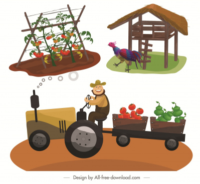farming icons agriculture products chicken coop farmer sketch
