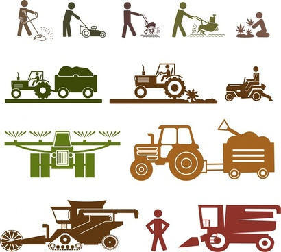 farming icons sets isolated with silhouette style