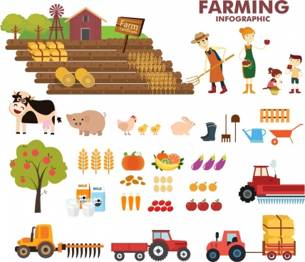 farming infographic design elements colored cartoon sketch