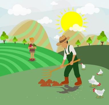 farming job theme colorful human and hens icons