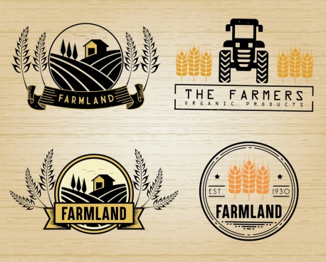 farming logotypes retro design barley field machine icons