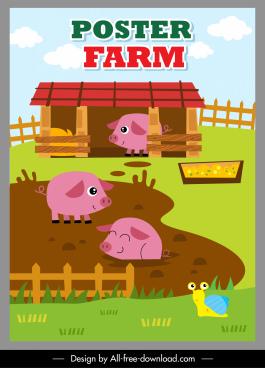 farming poster joyful pigs sketch cute cartoon design