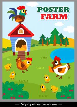farming poster template chicken species sketch colorful cartoon