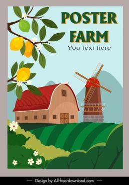farming poster windmill warehouse lemon tree field sketch