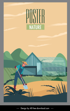 farming poster working man sketch cartoon design