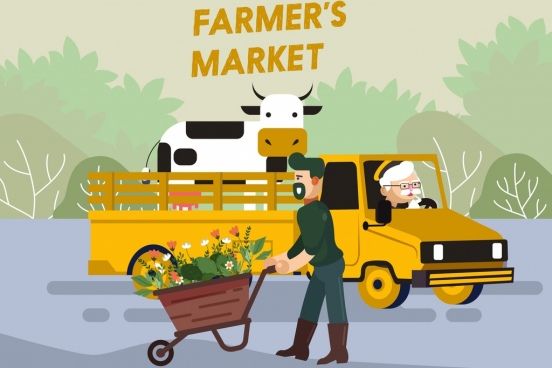farming product advertising farmers truck cattle flower icons