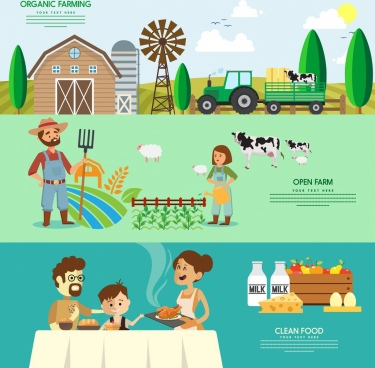 farming products banner multicolored cartoon design