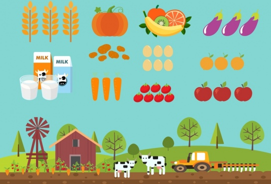 farming products icons colorful cartoon sketch