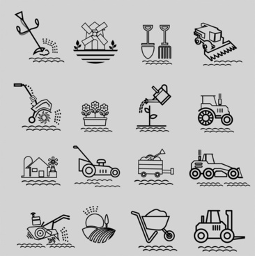 farming tools icons illustration in black and white