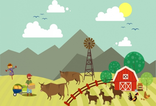 farming work background colored cartoon design