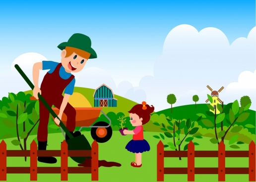 farming work background colorful cartoon decoration human icons