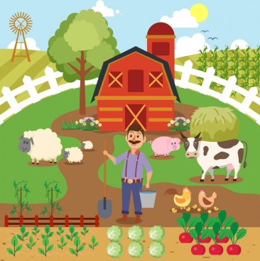 farming work background farmer cattle icons cartoon design
