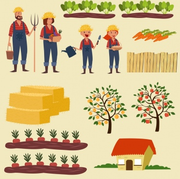 farming work design elements various colored symbols isolation
