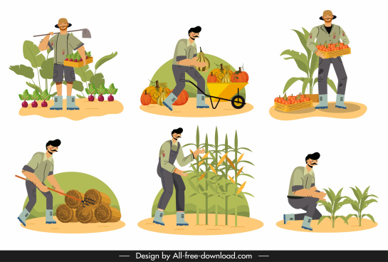 farming work icon cartoon characters sketch