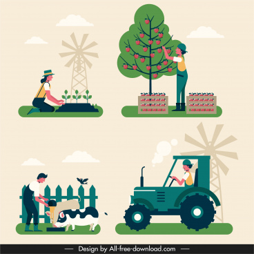 farming work icons classical colorful design cartoon characters