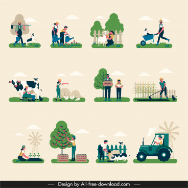 farming work icons colored cartoon design