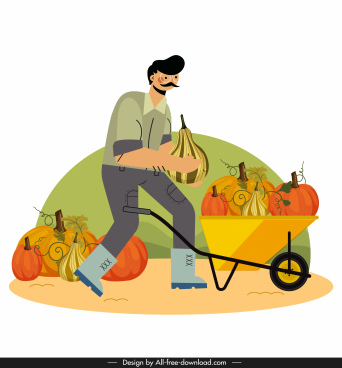 farming work painting man pumpkins wheelbarrow sketch