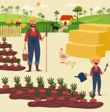 farming work theme colored cartoon decor