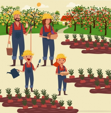 farming work theme family tree vegetables icons decor