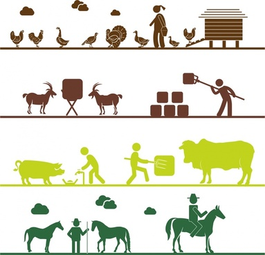 farming works concepts illustration with various silhouette styles