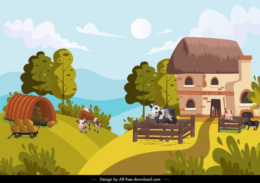 farmland landscape painting colorful cartoon sketch