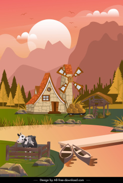 farmland scene background colorful cartoon decor