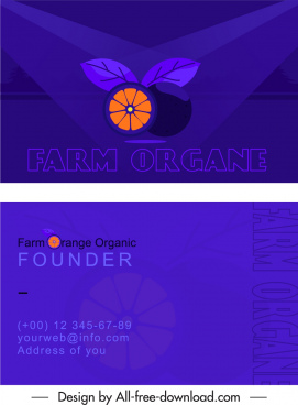 farrning business card template dark orange fruit sketch
