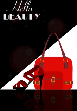 fashion advertisement high heel shoe bag icon