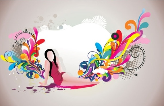 fashion and beauty pattern 01 vector