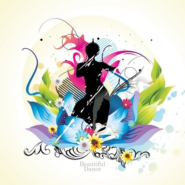 beauty background modern colorful decor floral silhouette design