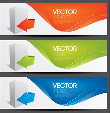 technology banner templates colorful modern dynamic 3d decor